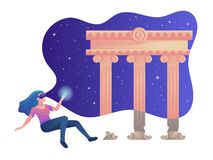 Illustrazione variopinta di vettore di realt? virtuale con la ragazza vicino al tempio antico royalty illustrazione gratis