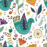 Illustrazione variopinta di vettore senza cuciture del modello con i bei uccelli e fiori Manifesto di arte per la decorazione il  Fotografia Stock