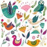 Illustrazione variopinta di vettore stabilito di arte con i bei uccelli e fiori Manifesto di arte per la decorazione il vostro in Fotografia Stock