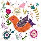 Illustrazione variopinta di vettore stabilito di arte con i bei uccelli e fiori Manifesto di arte per la decorazione il vostro in Fotografie Stock