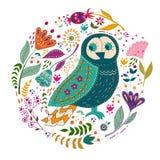 Illustrazione variopinta di vettore stabilito di arte con i bei uccelli e fiori Manifesto di arte per la decorazione il vostro in Fotografia Stock Libera da Diritti