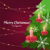 Illustrazione variopinta di vettore su fondo rosso con l'albero di Natale royalty illustrazione gratis