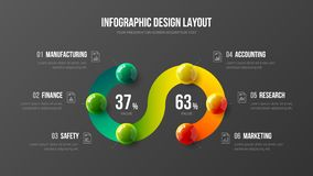 Illustrazione variopinta infographic delle palle di vettore 3D di presentazione di affari stupefacenti illustrazione vettoriale