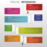 Illustrazione variopinta piana di vettore di infographics di cronologia Fotografie Stock Libere da Diritti