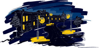 Illustrazione - vecchia città della notte Fotografia Stock Libera da Diritti