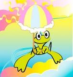 Illustrazione Vectorial di stile del fumetto con la rana Fotografia Stock