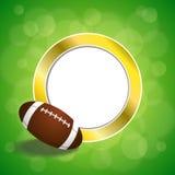 Illustrazione verde astratta della struttura del cerchio dell'oro della palla di football americano del fondo illustrazione di stock