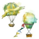 Illustrazione verde del trasporto aereo della mosca del fondo della mongolfiera Immagini Stock Libere da Diritti