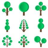 Illustrazione verde dell'albero set Immagini Stock Libere da Diritti