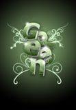 Illustrazione verde di arte della lettera di turbinio del fiore Immagini Stock Libere da Diritti