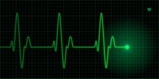 Illustrazione verde di impulso del cuore Fotografia Stock