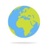 Illustrazione verde e blu di vettore del globo della mappa di mondo del fumetto Immagini Stock