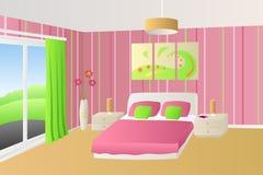 Illustrazione verde rosa beige della finestra delle lampade dei cuscini di letto della camera da letto interna moderna Immagini Stock Libere da Diritti
