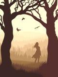Illustrazione verticale all'interno della foresta con la ragazza della siluetta in Immagini Stock