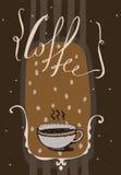 Illustrazione verticale con iscrizione disegnata a mano con il caffè di parola Immagine Stock Libera da Diritti