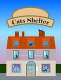 Illustrazione verticale della casa del riparo dei gatti nello stile piano con l'insegna per testo Fotografia Stock Libera da Diritti