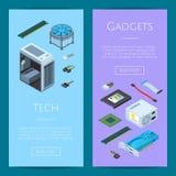 Illustrazione verticale delle insegne di web degli apparecchi elettronici isometrici di vettore illustrazione vettoriale