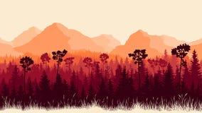 Illustrazione verticale delle montagne e della foresta con erba illustrazione vettoriale