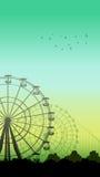 Illustrazione verticale delle montagne russe e di Ferris Wheel Immagine Stock