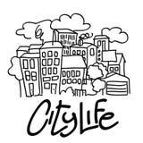 Illustrazione vita della città Immagini Stock Libere da Diritti