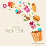 Illustrazione volante di vettore degli alimenti a rapida preparazione Immagine Stock Libera da Diritti