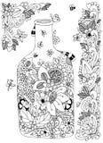 Illustrazione Zen Tangle di vettore con la bottiglia dei fiori Lo scarabocchio fiorisce la struttura Anti sforzo del libro da col royalty illustrazione gratis