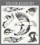 Illustrazioni ardenti dell'aquila impostate illustrazione di stock