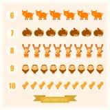 Illustrazioni aritmetiche di vettore per i bambini con gli animali Fotografie Stock Libere da Diritti