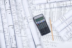 Illustrazioni, calcolatore, matita fotografie stock