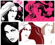 Illustrazioni con i fronti della donna Fotografia Stock Libera da Diritti