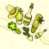 Illustrazioni con il cactus e le bottiglie Fotografia Stock