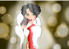 Illustrazioni d'annata del fondo della donna del cantante in scena royalty illustrazione gratis
