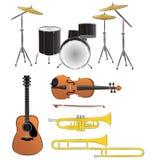 Illustrazioni degli strumenti musicali Fotografia Stock