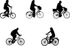 Illustrazioni dei cavalieri della bicicletta Fotografie Stock Libere da Diritti