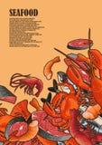 Illustrazioni dei frutti di mare incorniciate come struttura Fotografia Stock