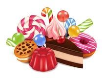 Illustrazioni del dessert Fondo con i dolci, la lecca-lecca della caramella di cioccolato ed i dolci casalinghi Alte immagini di  royalty illustrazione gratis
