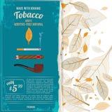Illustrazioni del fondo con le foglie del tabacco, le sigarette ed i vari strumenti per i fumatori illustrazione di stock