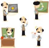 Illustrazioni del fumetto del maestro di scuola Fotografia Stock Libera da Diritti