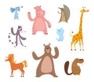 Illustrazioni del fumetto di vettore degli animali divertenti Fotografie Stock Libere da Diritti