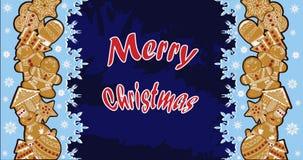 Illustrazioni del pan di zenzero di Natale, su un manifesto festivo Fotografie Stock Libere da Diritti