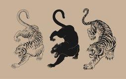 Illustrazioni dell'elemento di progettazione delle tigri royalty illustrazione gratis