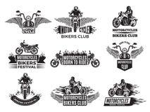 Illustrazioni della motocicletta Logos per il club della bici Fotografia Stock