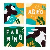 Illustrazioni di argo e di azienda agricola con gli animali illustrazione vettoriale
