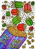 Illustrazioni di caduta del popcorn Fotografia Stock Libera da Diritti