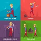 Illustrazioni di concetto dei caratteri dei minatori sul lavoro illustrazione vettoriale