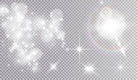 Illustrazioni di effetti della luce bianca messe Fotografia Stock