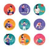 Illustrazioni di esercizi della palestra illustrazione di stock