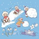 Illustrazioni di gioco dei bambini Fotografia Stock