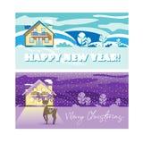 Illustrazioni di Natale e del nuovo anno Inverno Cartoline d'auguri illustrazione di stock