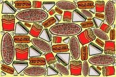 Illustrazioni di progettazione del modello degli alimenti a rapida preparazione Immagine Stock